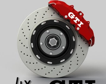 Set of 4 VW Volkswagen Golf GTI brake caliper stickers