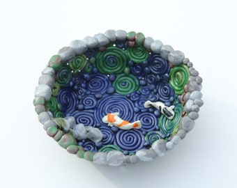 Koi Pond Trinket Dish; Jewelry Dish; Coin Dish; Small Unique Gift;