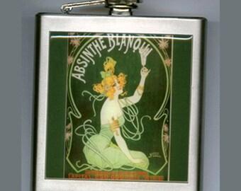 Absinthe Green Fairy Liquor Hip Flask Stainelss Steel 6 ounce