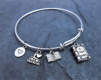 Book Lover Gift - Love to Read Charm Bracelet - Reading Books- Gift for Book Club - Teacher Gift  - Librarian Gift - Book Lover Jewelry