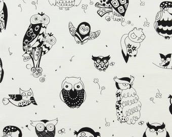 It's a HOOT OWL Fabric Black & White by Alexander Henry - Home Dec Drapery Weight - By the Yard