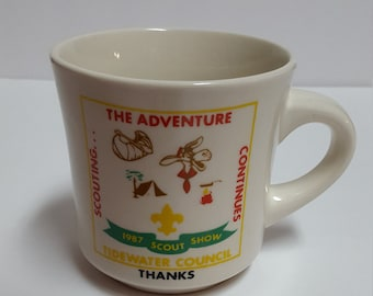 Vintage Boy Scout Coffee Mug Cup Tidewater Council 1987 Scout Show