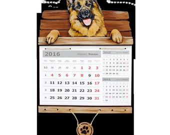 Calendar 2018 German Shepherd Dog calendar Calendar gift Calendar 2018 wall Yellow dog 2018 dog calendar German Shepherd gift А3К48