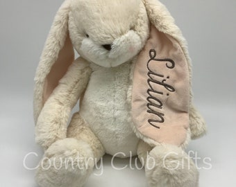 Personalized  bunny | baby shower gift | stuffed bunny | stuffed animal | Easter Basket | baby boy gift | baby girl gift | embroidered bunny