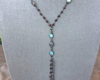 Labradorite and garnet gem chain tassel necklace