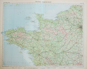 Vintage Map North West France, Paris, 1950s Cold War Era. Lovely Pastel Colours (70)