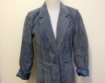 Vintage Blue Suede Blazer X-Small