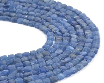 "0113 6mm Blue Kyanite square loose gemstone beads 16"""