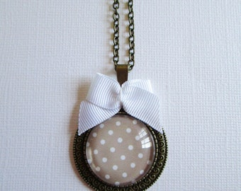 """Dots on beige"" necklace, bronze cabochon, costume jewelry"