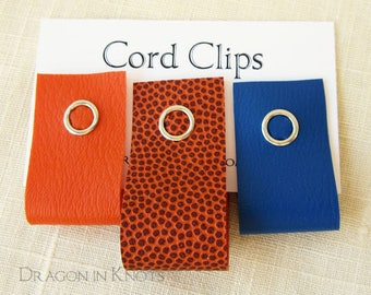 Cord Clips - Set of 3 Cord Wraps in Blue Orange and Basketball Vinyl, Reusable Snap Cable Ties, Colorcoded Organization, Back to School