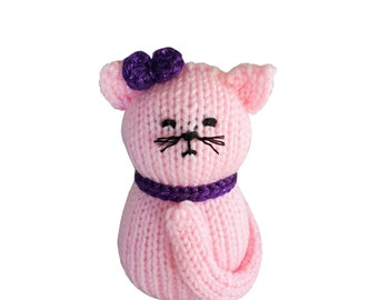 Handmade Small Knit and Crochet Kitty Cat: Custom Colors/ Made to Order