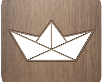 BOAT - ORIGAMI - laser cut wood - coasters