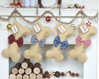 Personalized Dog Bone Christmas Stockings, Burlap Stocking, Red/Blue Striped Stocking,Christmas Decoration,Family Christmas