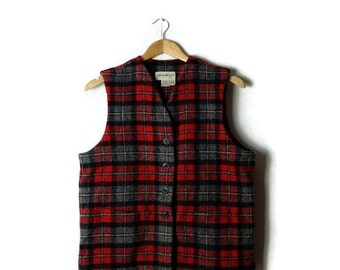 Vintage Red x  Grey Tartan Plaid Wool Vest  from 90's *