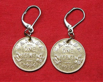 1936 Earrings made with canadian pennies from 1936