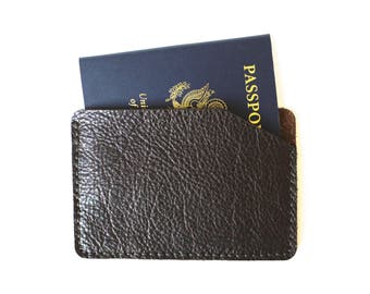 Minimal Passport Cover in Darkest Brown Leather. one pocket holder cover travel gift for him her