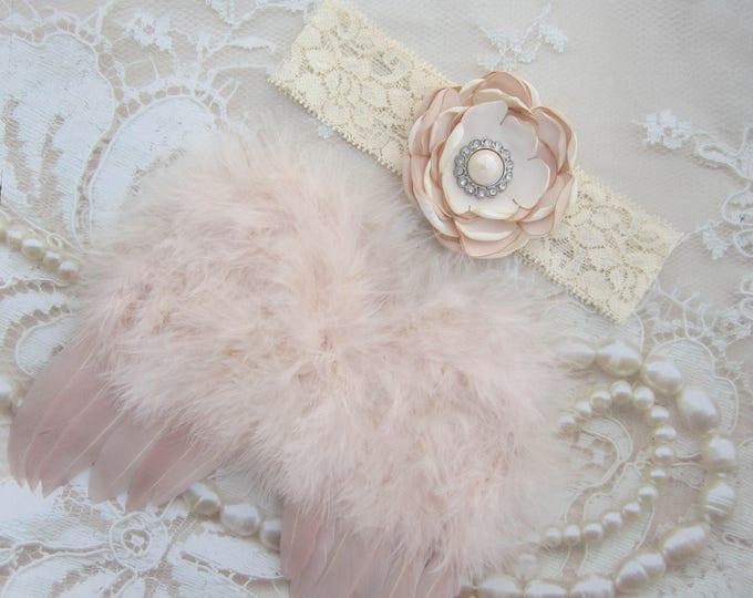 Vintage Blush Angel Baby Feather Wings & Handmade Layered Satin Flower Lace Headband, newborn, bebe foto, Lil Miss Sweet Pea