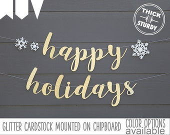 happy holidays banner, with snowflakes, christmas banner, glitter party decorations, cursive banner