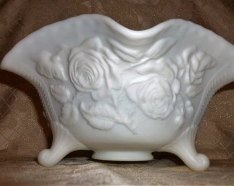 Large Footed White Satin Glass Bowl Exceptional Rose Floral Design