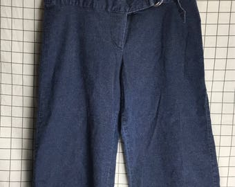 Vintage 1970's Denim Buckle Hip Hugger Flare Wide Leg Pants