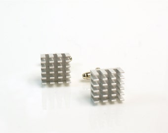 Raspberry pi Computer Component Cufflinks in Anodised Aluminium and Silver in Magnetic Box!...Geeky