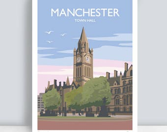 Manchester, Town Hall HAND SIGNED Art Print/Travel Poster. Plus Free Postage!