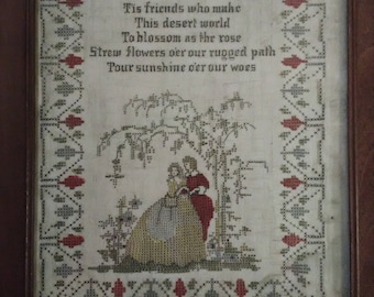 Antique counted cross stitch. Poem from late 1890's. Tis friends who make this desert world...