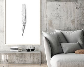 Black grey Feather Art Print - feather  watercolor paintings -  wall art - feather decor - feather prints - feathers poster