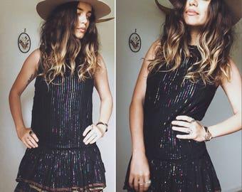 Vintage 70s // INDIAN GAUZE METALLIC Thread Party Dress // Delicate Drop Waist Bohemian Dress // Size Xs- S