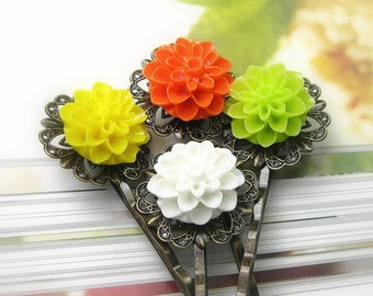 Floral Hair Accessories, White Green Orange Mum Flower Bobby Pins, Hair Pins, Floral Bobby Pins, Gifts for Girls, Primrose Yellow, Flame