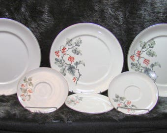 Pope Gosser China Made in The U.S.A. POP251 Grey Leaves Red Blossoms Platinum Trim