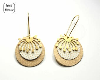 Gold and white dandelion earrings