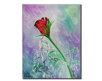 """11""""x14"""",wall art,red rose,oil on canvas, original abstract painting, wall decoration, pink,light painting"""