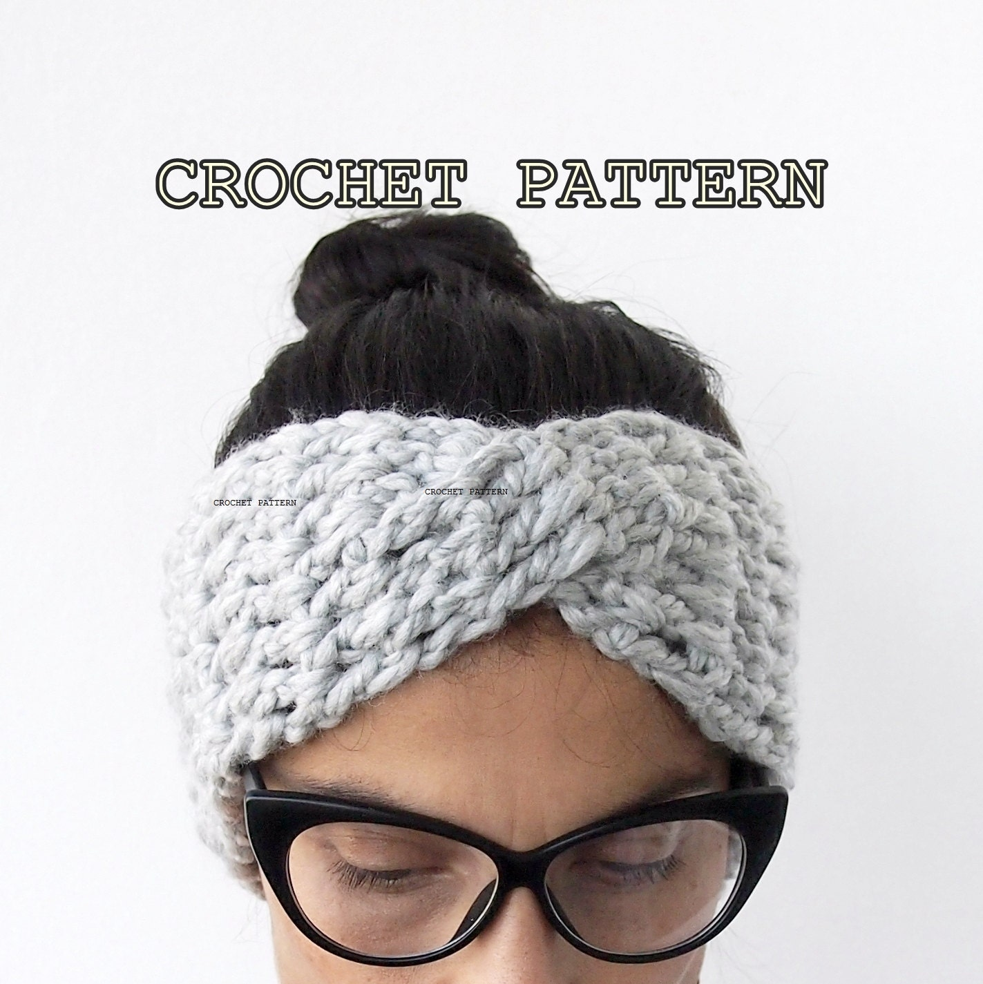 Crochet Pattern turban headband chunky hat twist headwrap