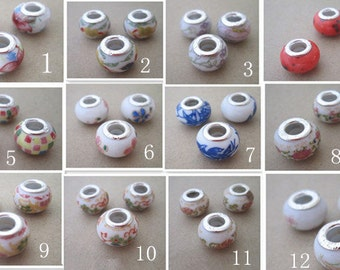 12pcs ceramic ( Mixed color )  beads 9mmx13mm  M002