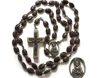 Vintage Spina Cristi Bead Rosary with Reliquary Crucifix ROMA Italy / Dominican Rosary 59 beads / Italian Catholic Reliquary Crucifix