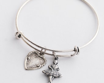 Silver Ballerina Charm Bangle, Ballerina Bangle, Ballet Teacher Gift, Dancer Gift, Ballet Jewelry, Silver Heart Bangle, Ballerina Jewelry