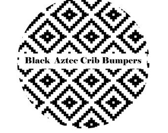 Crib Bumpers inBLACK AZTEC-Crib Bedding-Arrow Crib Bedding-Baby Bedding-Black-BoyCrib Bedding