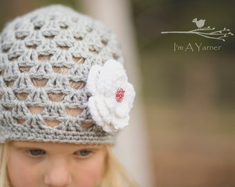 Newborn Hat, Gray Crochet Beanie, Baby Girl Hat, Knit Hat, Toddler Winter Hat, Grey Hat, Flower Hat, Spring Baby Hat, Flower Girl Hat