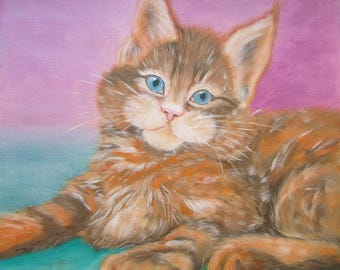 Portrait of cat favorite pet (Canvas painting oil based)