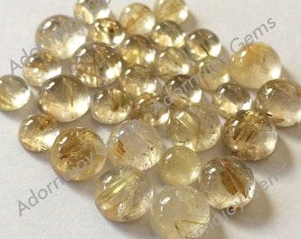 Gemstone Cabochon Quartz Rutilated Gold Golden 6mm Round FOR ONE