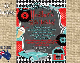 Printable Rock and Roll Invitation - Rockabilly Party  - Rock and Roll Party - 50s Party - 1950s Party - Men's Design