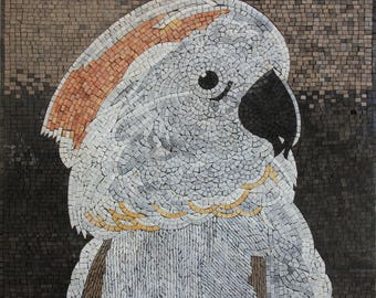 """Exotic White Parrot Wall Decor 28""""x24"""" Home Art Marble Mosaic AN275"""