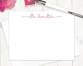 personalized note card set - PERFECTLY CHARMING - set of 12 flat note cards - feminine stationery - fun note cards