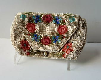 Vintage purse, Beaded purse, 1930's, floral, ivory, wedding, pink, blue, vintage accessories