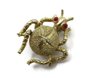 Gold Bug Brooch - Red Rhinestone Eyes, Costume Jewelry