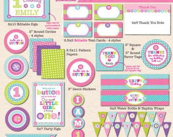 Cute as a Button First Birthday Party - DIY/Printable Complete Party Pack- Instant Download PDF File