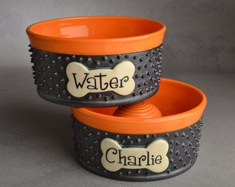 Personalized Slow Feeder Dog Bowl Set Made To Order Spiky Dog Bowls by Symmetrical Pottery