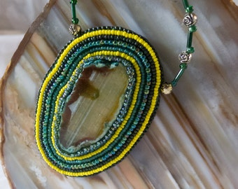 Bead Embroidered Agate Necklace