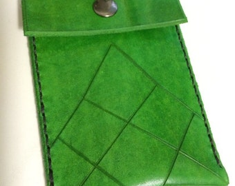 Beautiful hand tooled small leather wallet in 4 different color choices, red, blue, purple, green  - money clip, card holder